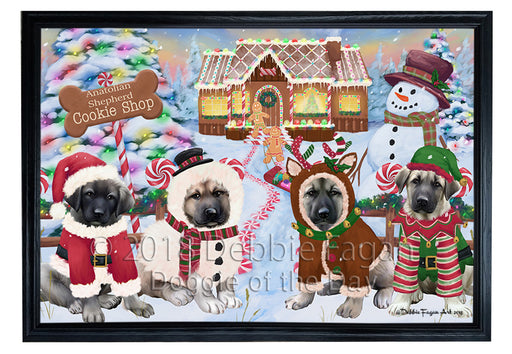 Holiday Gingerbread Cookie Shop Anatolian Shepherds Dog Framed Canvas Print Wall Art FCVS190681