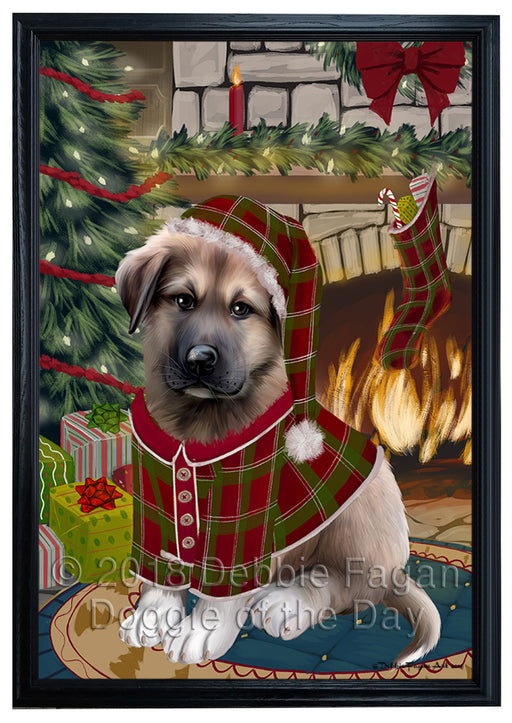 The Stocking was Hung Anatolian Shepherd Dog Framed Canvas Print Wall Art FCVS174905