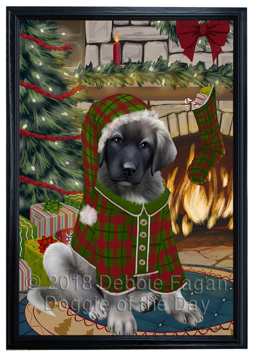 The Stocking was Hung Anatolian Shepherd Dog Framed Canvas Print Wall Art FCVS174922