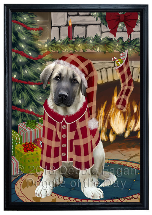 The Stocking was Hung Anatolian Shepherd Dog Framed Canvas Print Wall Art FCVS174939