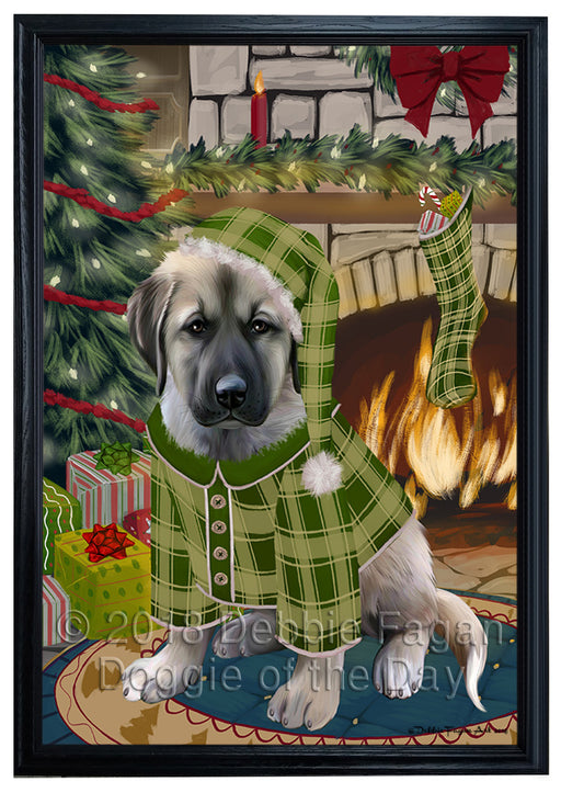 The Stocking was Hung Anatolian Shepherd Dog Framed Canvas Print Wall Art FCVS174956