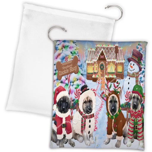 Holiday Gingerbread Cookie Anatolian Shepherd Dogs Shop Drawstring Laundry or Gift Bag LGB48561