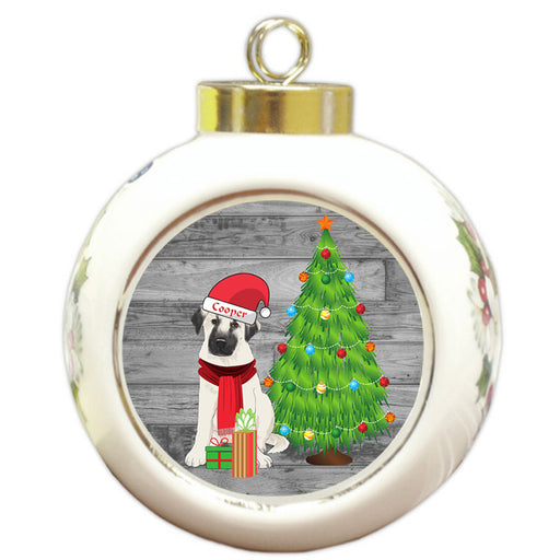 Custom Personalized Anatolian Shepherd Dog With Tree and Presents Christmas Round Ball Ornament