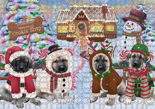 Holiday Gingerbread Cookie Shop Anatolian Shepherds Dog Puzzle with Photo Tin PUZL92588