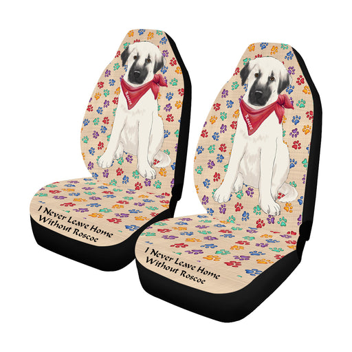 Personalized I Never Leave Home Paw Print Anatolian Shepherd Dogs Pet Front Car Seat Cover (Set of 2)