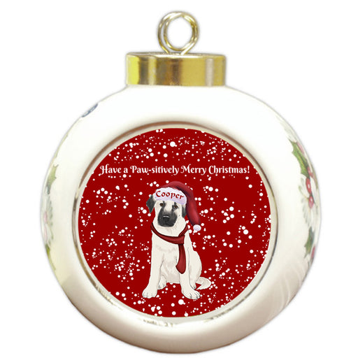 Custom Personalized Pawsitively Anatolian Shepherd Dog Merry Christmas Round Ball Ornament