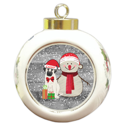 Custom Personalized Snowy Snowman and Anatolian Shepherd Dog Christmas Round Ball Ornament