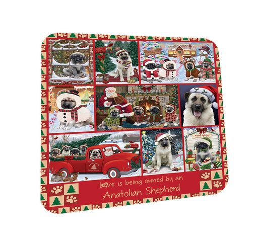Love is Being Owned Christmas Anatolian Shepherd Dogs Coasters Set of 4 CST57149