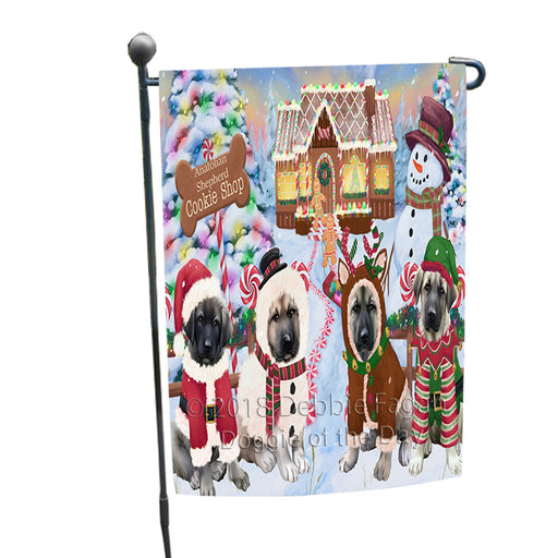 Holiday Gingerbread Cookie Shop Anatolian Shepherds Dog Garden Flag GFLG56644