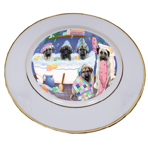 Rub A Dub Dogs In A Tub Anatolian Shepherds Dog Porcelain Plate PLT55103