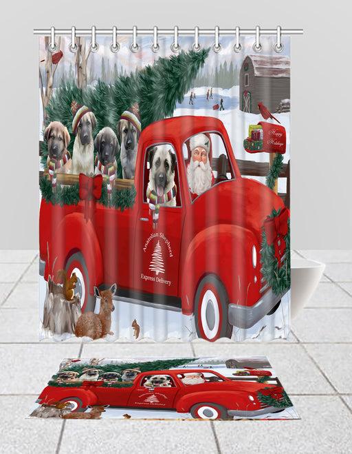 Christmas Santa Express Delivery Red Truck Anatolian Shepherd Dogs Bath Mat and Shower Curtain Combo