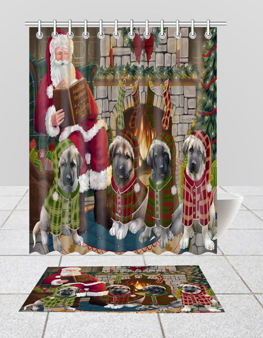 Christmas Cozy Holiday Fire Tails Anatolian Shepherd Dogs Bath Mat and Shower Curtain Combo