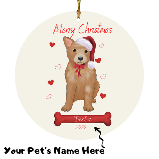 Personalized Merry Christmas  Australian Cattle Dog Christmas Tree Round Flat Ornament RBPOR58899
