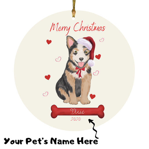 Personalized Merry Christmas  Australian Cattle Dog Christmas Tree Round Flat Ornament RBPOR58900