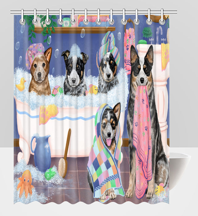 Rub A Dub Dogs In A Tub Australian Cattle Dogs Shower Curtain