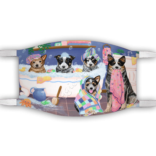 Rub A Dub Dogs In A Tub  Australian Cattle Dogs Face Mask FM49469