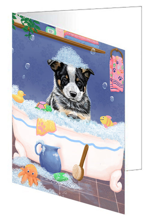 Rub A Dub Dog In A Tub Australian Cattle Dog Greeting Card GCD79196