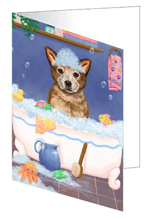 Rub A Dub Dog In A Tub Australian Cattle Dog Greeting Card GCD79199