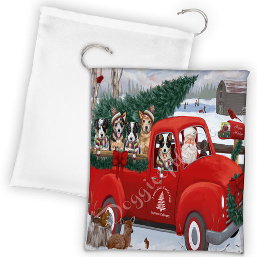 Christmas Santa Express Delivery Red Truck Australian Cattle Dogs Drawstring Laundry or Gift Bag LGB48271