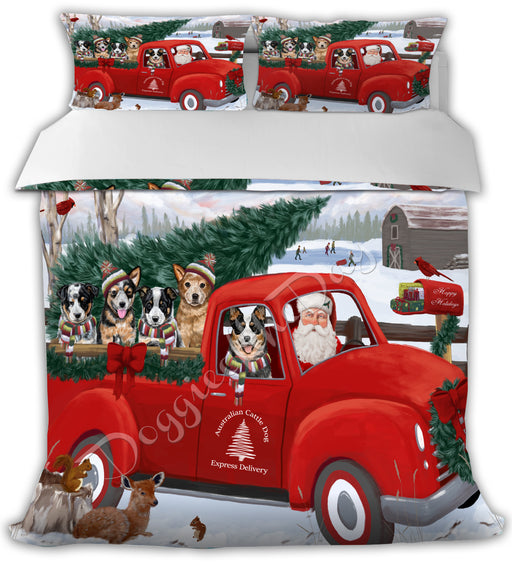 Christmas Santa Express Delivery Red Truck Australian Cattle Dogs Bed Duvet Cover DVTCVR48063