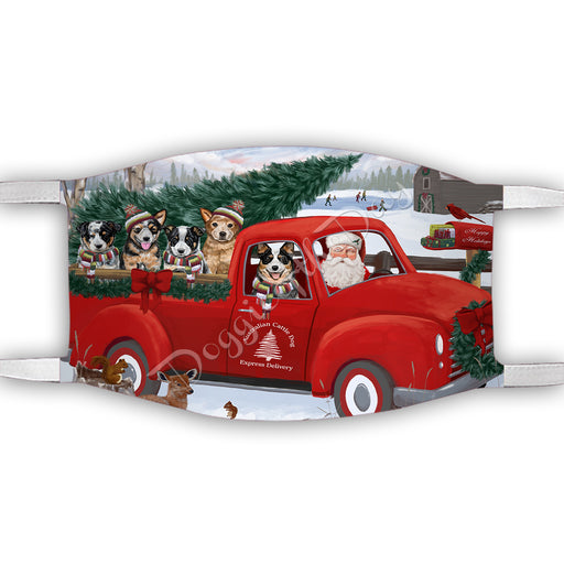 Christmas Santa Express Delivery Red Truck Australian Cattle Dogs Face Mask FM48404