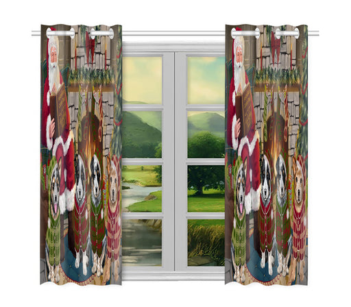 Christmas Cozy Holiday Fire Tails Australian Cattle Dogs Window Curtain