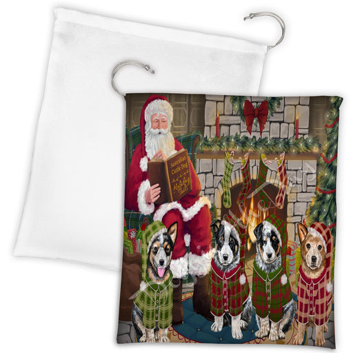 Christmas Cozy Holiday Fire Tails Australian Cattle Dogs Drawstring Laundry or Gift Bag LGB48465