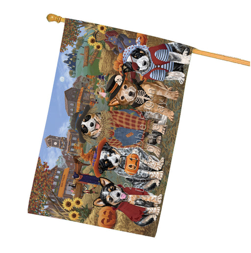 Halloween Round Town And Fall Pumpking Scarecrow Both Australian Cattle Dogs Garden Flag GFLG65563