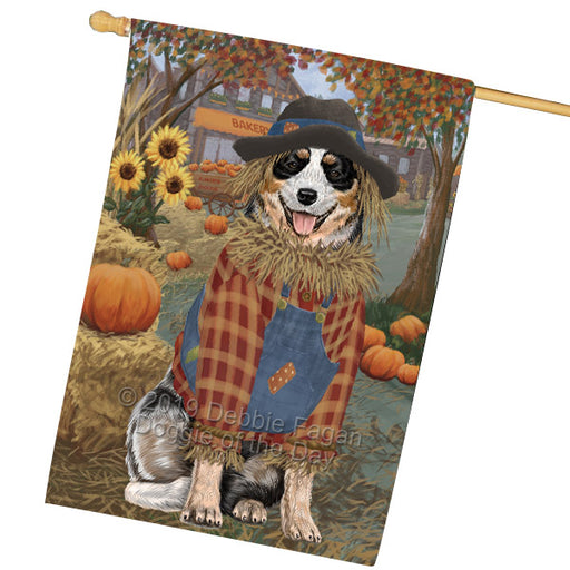Halloween Round Town And Fall Pumpking Scarecrow Both Australian Cattle Dogs Garden Flag GFLG65624