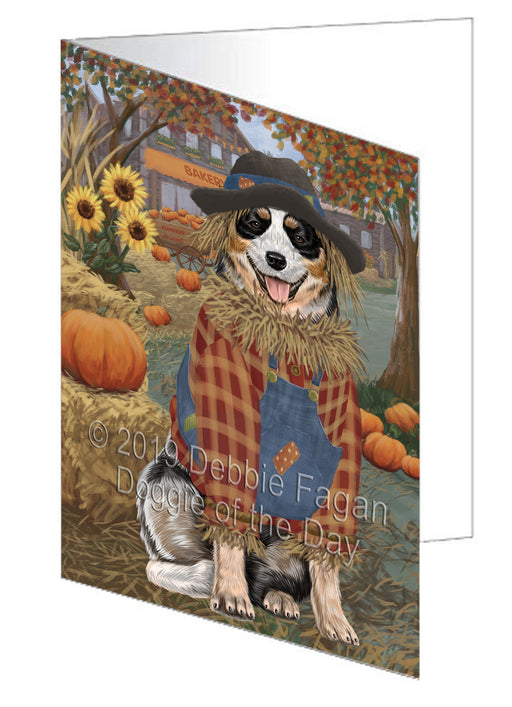 Fall Pumpkin Scarecrow Australian Cattle Dog Greeting Card GCD77918