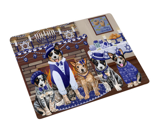 "Happy Hanukkah Family and Happy Hanukkah Both Australian Cattle Dogs Magnet MAG77554 (Mini 3.5"" x 2"")"