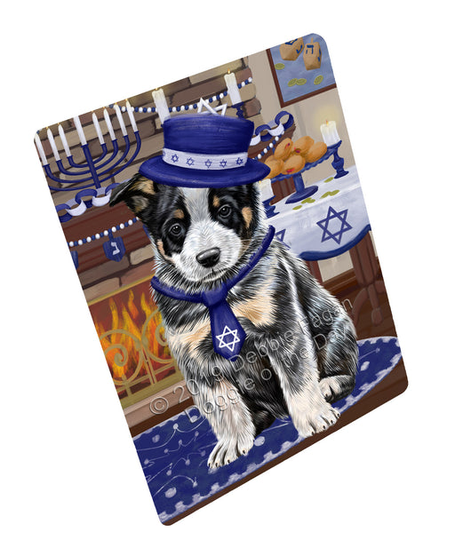 "Happy Hanukkah Family and Happy Hanukkah Both Australian Cattle Dog Magnet MAG77386 (Mini 3.5"" x 2"")"