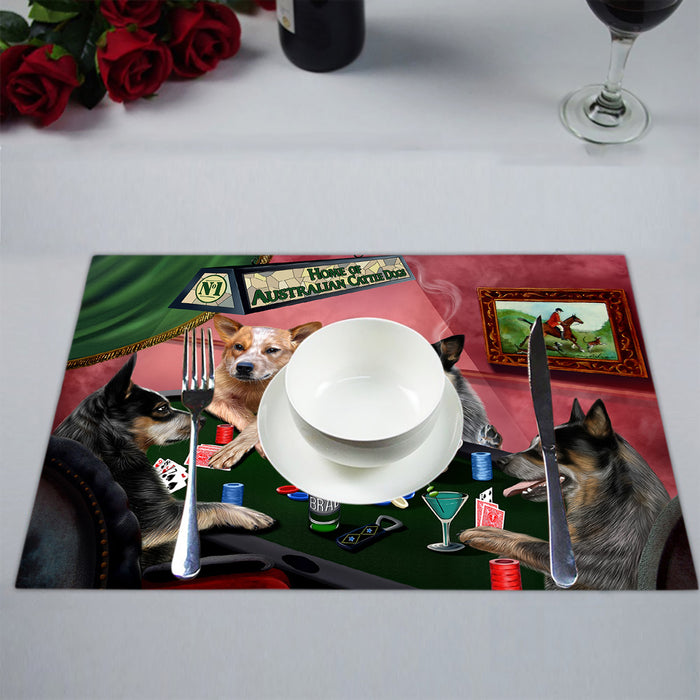 Home of  Australian Cattle Dogs Playing Poker Placemat