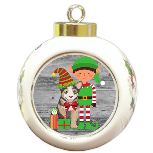 Custom Personalized Australian Cattle Dog Elfie and Presents Christmas Round Ball Ornament