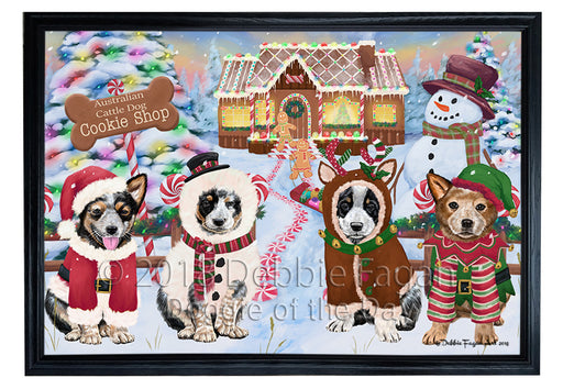 Holiday Gingerbread Cookie Shop Australian Cattle Dogs Framed Canvas Print Wall Art FCVS190698