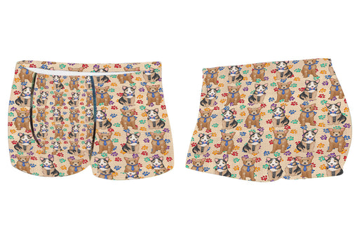 Rainbow Paw Print Australian Cattle Dogs BlueMen's All Over Print Boxer Briefs