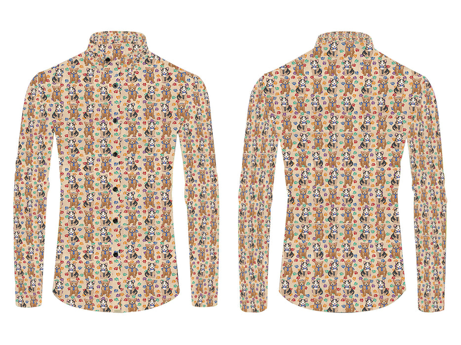 Rainbow Paw Print Australian Cattle Dogs Blue All Over Print Casual Dress Men's Shirt