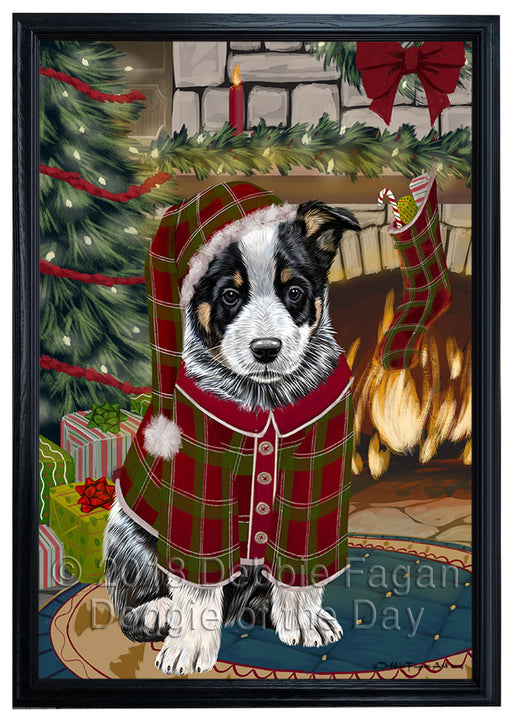 The Stocking was Hung Australian Cattle Dog Framed Canvas Print Wall Art FCVS174973
