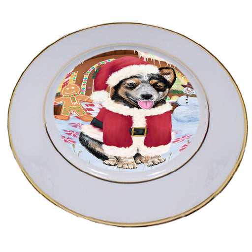 Christmas Gingerbread House Candyfest Australian Cattle Dog Porcelain Plate PLT54494