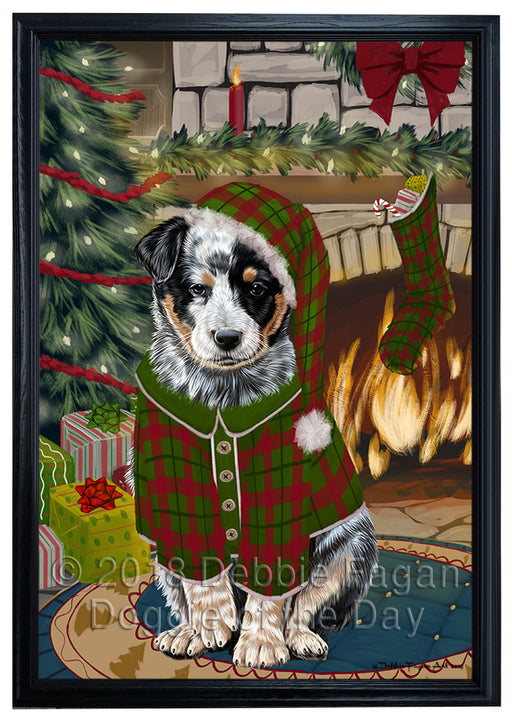 The Stocking was Hung Australian Cattle Dog Framed Canvas Print Wall Art FCVS174990