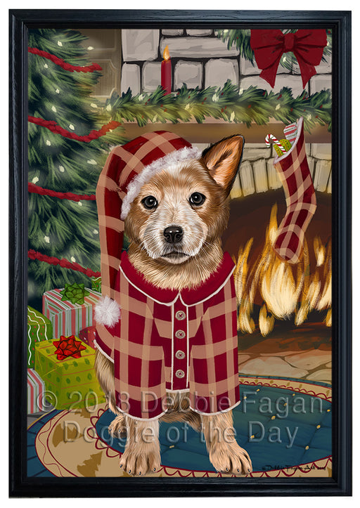 The Stocking was Hung Australian Cattle Dog Framed Canvas Print Wall Art FCVS175007