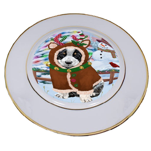 Christmas Gingerbread House Candyfest Australian Cattle Dog Porcelain Plate PLT54496