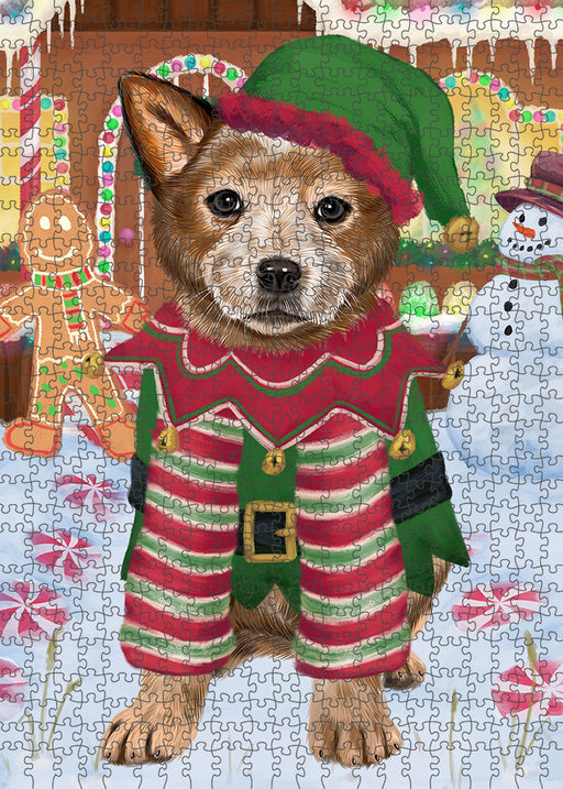 Christmas Gingerbread House Candyfest Australian Cattle Dog Puzzle with Photo Tin PUZL92792