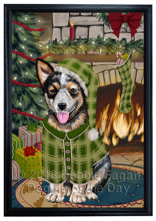 The Stocking was Hung Australian Cattle Dog Framed Canvas Print Wall Art FCVS175024
