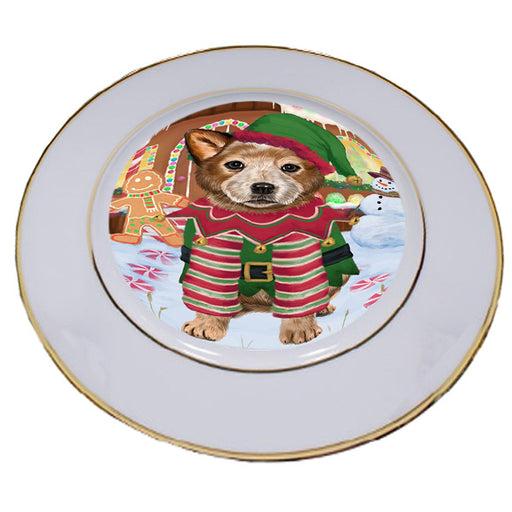 Christmas Gingerbread House Candyfest Australian Cattle Dog Porcelain Plate PLT54497