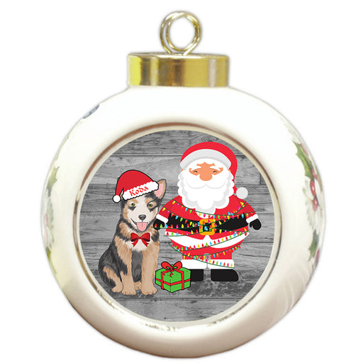 Custom Personalized Australian Cattle Dog With Santa Wrapped in Light Christmas Round Ball Ornament