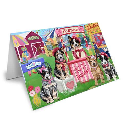 Carnival Kissing Booth Australian Cattle Dogs Note Card NCD71840