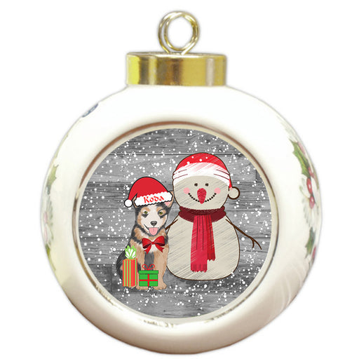 Custom Personalized Snowy Snowman and Australian Cattle Dog Christmas Round Ball Ornament