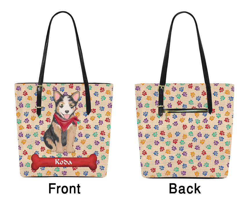 Custom Personalized Red Paw Print Australian Cattle Dog Euramerican Tote Bag