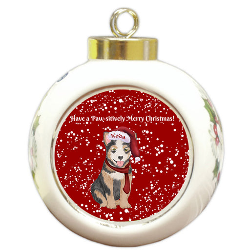 Custom Personalized Pawsitively Australian Cattle Dog Merry Christmas Round Ball Ornament